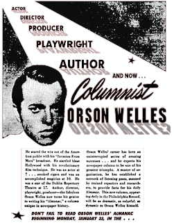 New York Post Film Editor Lou Lumenick has written a retrospect marking the  70th anniversary of Orson Welles' brief career as a columnist for that  veteran ...